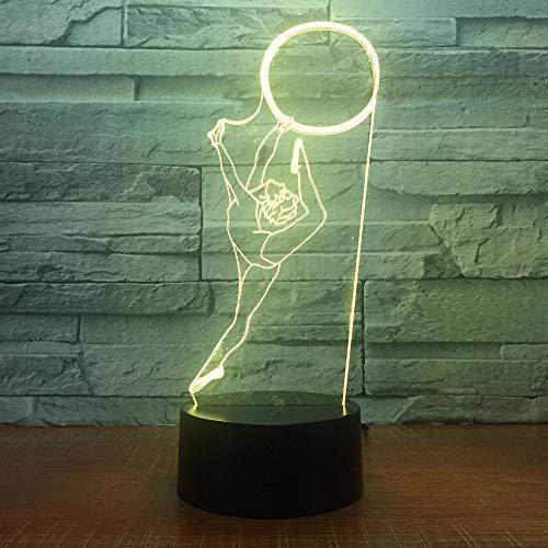 Luz de noche lámpara de mesa multicolor anillo de gimnasia dormitorio lámpara de dormir decoración ventilador de gimnasia