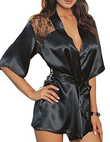 Creamlin Kleid aus Seide, Spitze, Kimono, Nachtkleid, sexy Damen, Badekleid, Nachtkleid Gr. 42, Schwarz