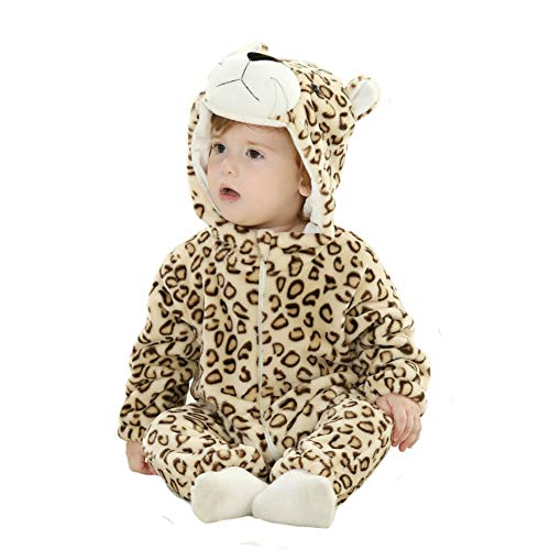 Doladola Unisex Baby Hooded Romper Tier Flanell Onesies Baby Strampler Overall (Leopard, 3-6 Monate)