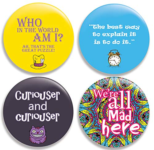 Alice in Wonderland Quotes Pinback Buttons/Pins (2.25 inches) Set of 4