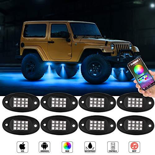 Swatow Industries Neon LED Lights RGB Rock Lights Waterproof Bluetooth Lights Underglow Lights for Truck Car Jeep Off Road ATV UTV Motorcycle Boat RGB LED Rock Light Kits 8 Pods