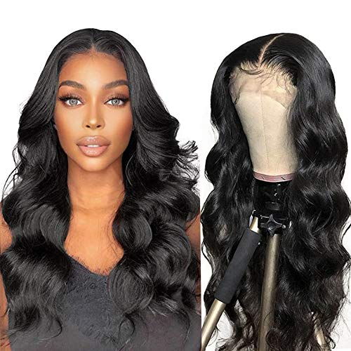 Body Wave Lace Front Wig Human Hair Wigs T Part 13X4 Transparent Lace Front Wigs Pre Plucked With Baby Hair Middle Part Glueless Brazilian Virgin Body Wave Human Hair Wigs for Black Women 20 Inch
