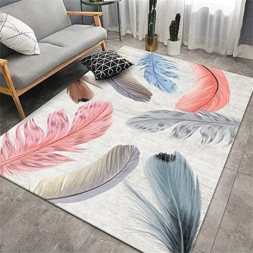 Alfombra para Habitacion Adornos para Salon Modernos Modelo de Pluma Gris de Oro Azul Rosa diseño gráfico Simple Moderno Alfombras para Pasillos Largos 120X160cm