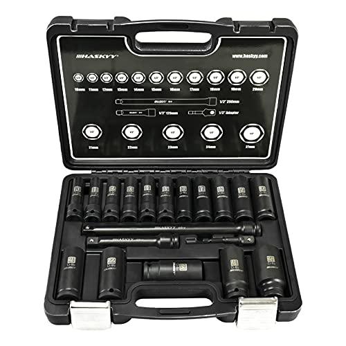 Haskyy - Juego de llaves de impacto (10-27 mm, 19 piezas, 2 alargadores, adaptador de 1/4)