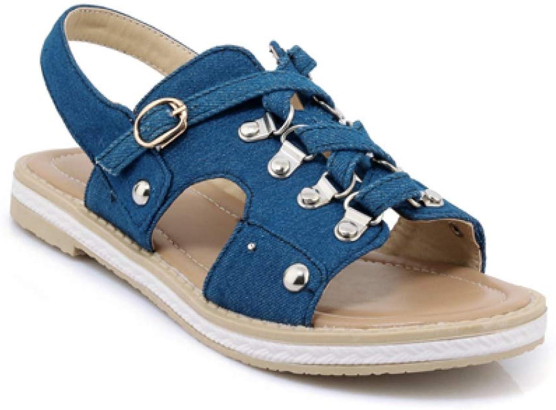 JOYBI Women Flat Gladiator Sandals Summer Casual Slip On Buckle Strap Comfortable Fashion Denim Sandal shoes