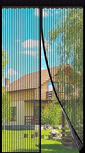 Fliegengitter Tür Insektenschutz Magnet Vorhang Fliegenvorhang Moskitonetz für Balkontür Wohnzimmer, Klebmontage ohne Bohren(Schwarz) (100*210)