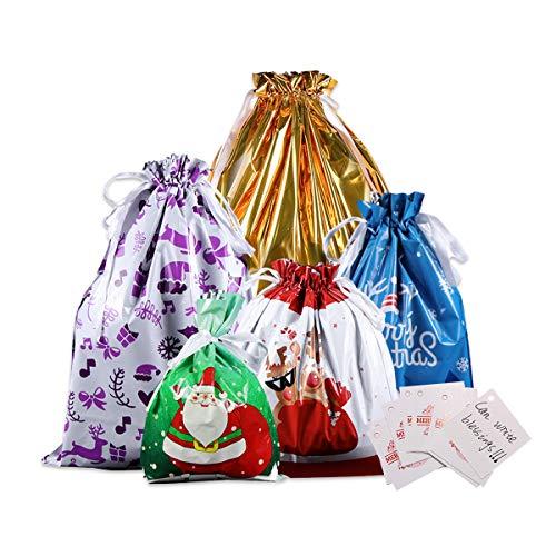 KAARI 20 Pezzi Sacchetti da Regalo di Natale,Sacchetti Regalo Natalizi Coulisse per Festa di Natale, Festa, Regalo