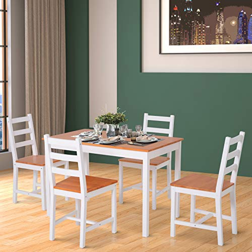 HOMCOM 5 Piece Solid Pine Wood Table and High Back Chair Dining Set - White