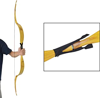 SHARROW Archery Traditional Recurve Bow 25lbs Right Handed Wooden Handmade Horsebow Mongolian Style Long Bow for Outdoor Practice Target Hunting