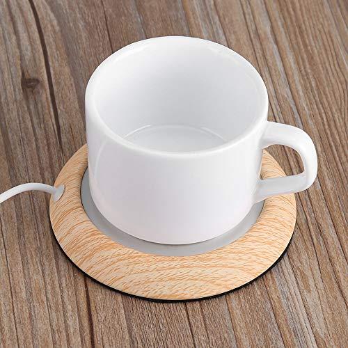カップウォーマー USB 保温コースター 木目調 保温パッド カップホット 安全 省エネ 水/お茶/コーヒー/牛乳など飲み物 オフィスや事務室や自宅用に適用 USB給電 5V (茶色)