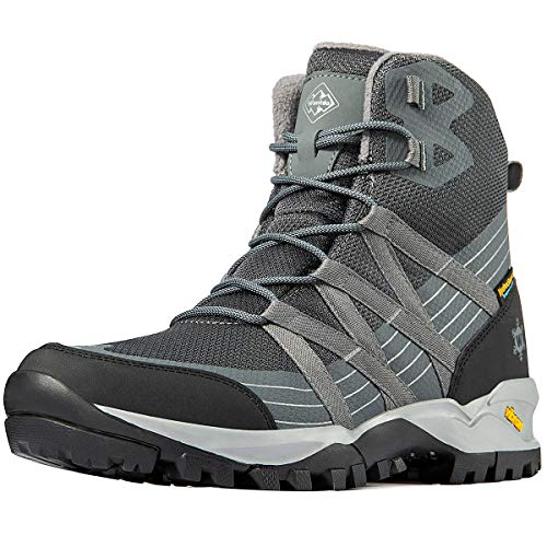 Wantdo Men's High Waterproof Hiking Shoe, All Season Ankle Boots for Outdoor Camping Gray 11 M US