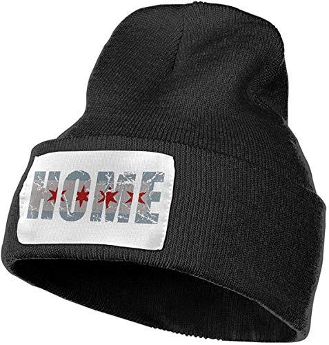 Voxpkrs Vintage Fade Home Chicago Flag Men & Women Skull Caps Winter Warm Stretchy Knit Beanie Hats