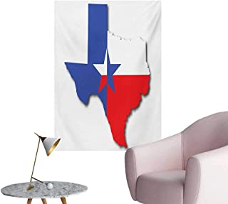 Anzhutwelve Texas Star Photo Wall Paper Outline of The Texas Map American Southwest Austin Houston CityVermilion White Violet Blue W20 xL28 Wall Poster