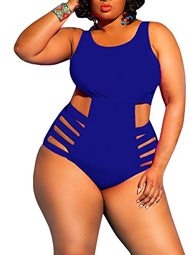 Nulibenna Womens Plus Size Cutout Swimsuit One Piece High Waisted Swimwear Bandage Tummy Control Monokini Blue