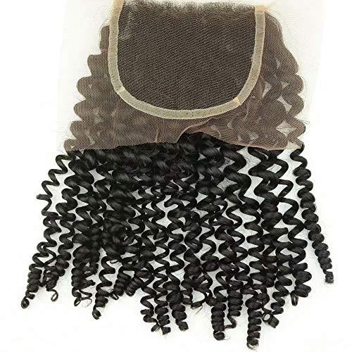 Partie libre de cheveux brésilien Fermeture Dentelle 4x4 Kinky Jerry Curly Cheveux vierges Attachement Extensions de cheveux 1 piece 12inch