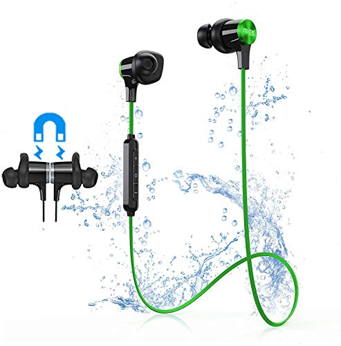 Bluetooth Headphones, Sport Earphones with CVC 8.0 Noise Cancelling Mic, HD Stereo Sound 9H Battery Sweatproof in-Ear Headsets, IPX7 Waterproof Magnetic Earbuds, for Running,Cycling,Gym (Green)