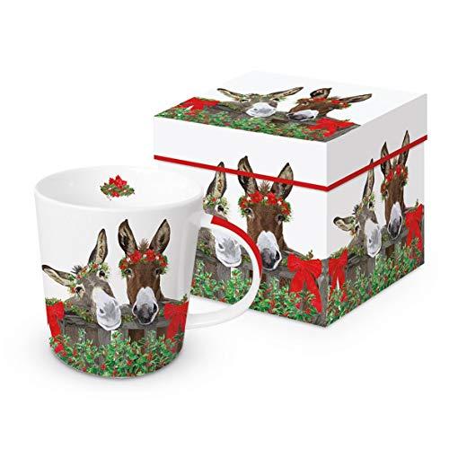 Kaffeebecher Esel, Blumenkranz, mit Geschenkbox, Tasse Tiere Tier Geschenkset