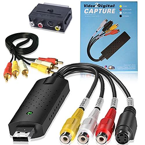 HOTSO Convertitore Video Grabber Audio, Scatola di Acquisizione USB 2.0 Converter VHS Capture Dgital S-Video RCA Cavo per Windows 10 8 7 Vista XP + Adattatore Scart Cavi RCA