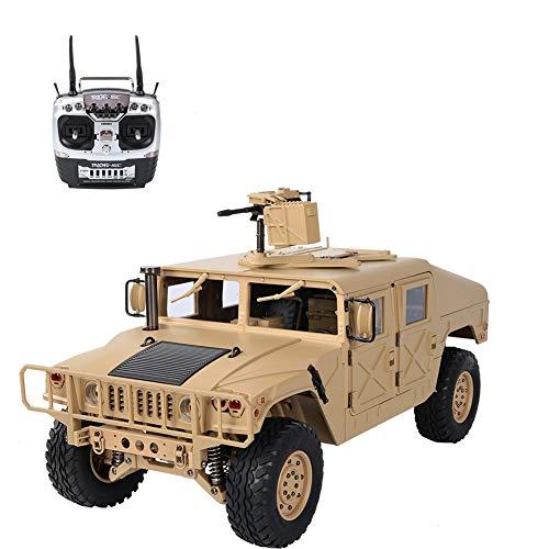 FEBT Coche del ejército RC Camión Militar Todoterreno RC de 30 km/h, 1/10 US 4x4 Vehículos Militares 2.4G 4WD RC Coche de Juguete Camiones con Control Remoto para niños, Adultos y niños(Amarillo)
