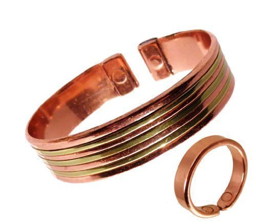 The Online Bazaar Armreifen Und Ring Set Kupfer Mit Messing Glatter Kupferring Mittelgroßer Ring: 19-21mm