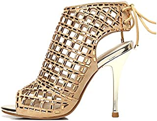 Women's Shoes/Sandals Ladies High Heels Sexy Hollow Sandals Wedding Dresses Golden Party Shoes (Color : Height 10cm, Size : 34/UK3.5/US4.5/220mm)
