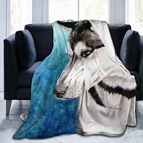 Best Fleece Bed Blankets, Cute Watercolor Siberian Husky Dog Psychedelic Light Blue Background Decorative Throw Blankets, Lightweight Super Cozy Family Blanket Fit Kids Recliner Bedroom