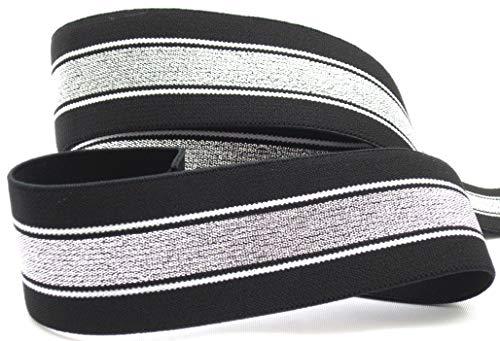 Gummiband mit Streifen, 40mm, elastisch, 1970, Elastic, nähen, Meterware, 1meter (schwarz)