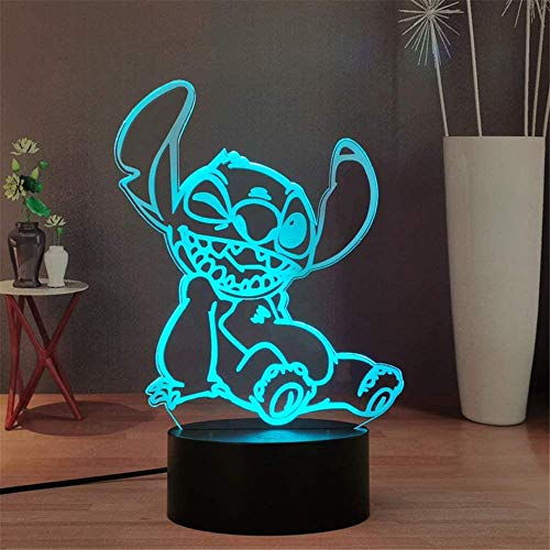 3D Night Light, Babies Illusion Lamp Kids Touch Table Desk LED Lamp 16 Color Changing with USB Cable, Christmas Gifts for Kids Boys ToysLaysinly Stitch