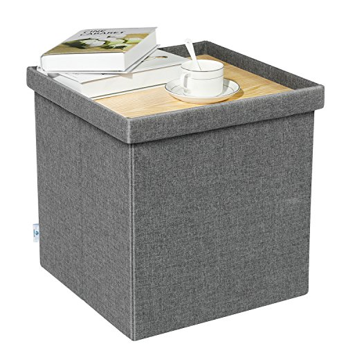 B FSOBEIIALEO Storage Ottoman with Tray, Small Ottomans Cube Folding Coffee Table Foot Stool Footrest Seat, Dark Grey Linen 16'X15.7'x15'