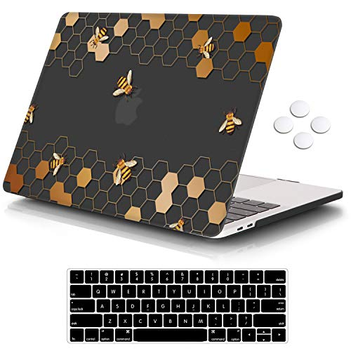"""iCasso MacBook Pro 13 inch Case 2019 2018 2017 2016 Release A2159/A1989/A1706/A1708, Plastic Hard Shell Case with 5 Rows Keyboard Cover Compatible Newest MacBook Pro 13"""" - Honeycomb"""