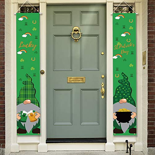 hatatit St. Patricks Veranda-Schild, St. Patrick's Day, Dekoration, Zwerge, Elfe, Glücksbanner Happy St Patricks Day, für Zuhause, Wand, Hof, Büro, Party
