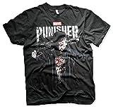 Photo de Officiellement sous Licence Marvel's The Punisher Blood T-Shirt pour Hommes (Noir), X-Large