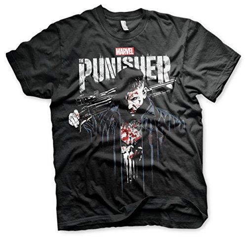 Offizielles Lizenzprodukt Marvel's The Punisher Blood Big & Tall 3XL,4XL,5XL Herren T-Shirt (Schwarz), 3X-Large