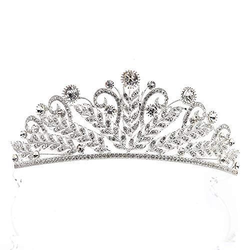 Xhtoe Diadeem van witgoud voor dames, kroon voor bruid, bruid, bruid, bruidssieraden, accessoires voor verjaardag, gala, haaraccessoires (kleur: wit, maat: 15 x 5 cm)
