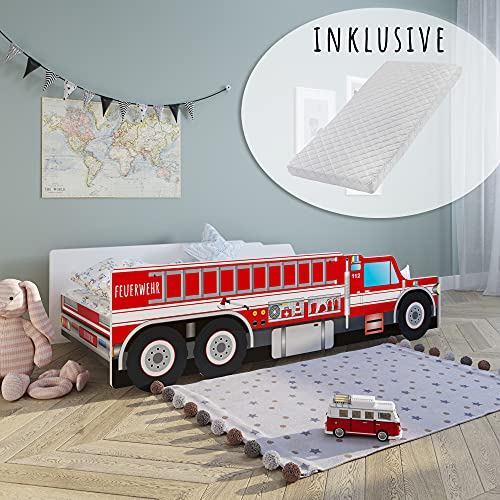 Autobett Kinderbett Jugendbett 70x140 | 80x160 mit Rausfallschutz & Matratze | Feuerwehr Feuerwehrauto Feuerwehrmann Kinder Spielbett