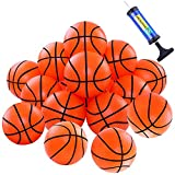 Elcoho 24 Packs Mini Basketball Plastic Small Hoop Basketballs Plastic Pool Basketball Toys with Inflation Pump for Sports Themed Party Favor