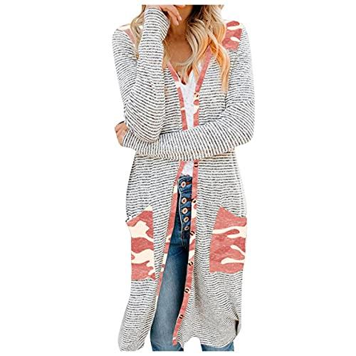 LIEIKIC Cárdigan largo y elegante, chaqueta fina de manga larga ligera, de punto, estampado para otoño., Rosa., 40