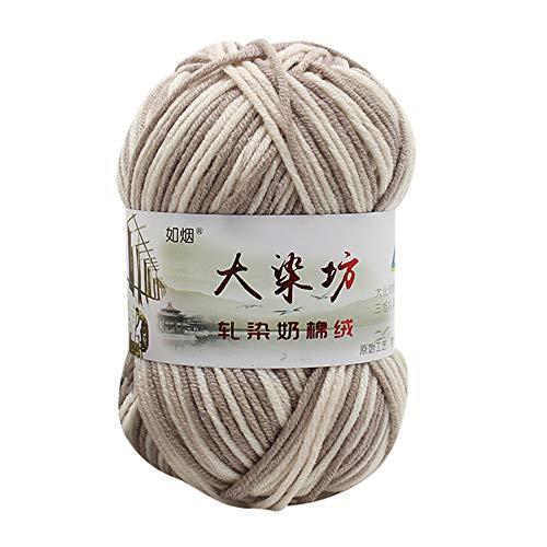 Wuayi Pelote de laine en acrylique pour bébé douce et naturelle, pour crochet, tricot, 50 g, Coton, l, Taille unique