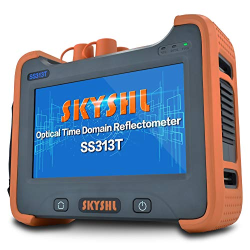 SKYSHL 1310nm + 1550nm 35dB + 33dB OTDR Testing (Built-in OPM OLS VFL and Event Map) Fiber Tester SM 7inches Touch Screen Optical Time Domain Reflectometer (SC ST FC LC UPC Adapter)-SS313T-2B