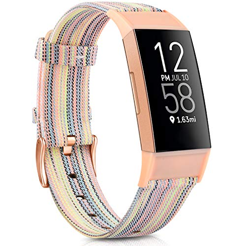 Tobfit Fabric Band Compatible with Fitbit Charge 4, Fitbit Charge 3 / Charge 3 SE for Women Men, Soft Woven Adjustable Replacement Wristbands (5.5''-8.1'', Colorful)