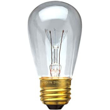 E26 Base 14 PACK Clear 11-Watt Incandescent S14 Sign Replacement Light Bulbs