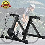 Bike Trainer Stand, Magnetic Bicycle Stationary Stand for Indoor Riding with Noise Reduction Wheel Portable Stainless Steel Cycling Exercise Trainer w/ 5 Levels Resistance for Road & Mountain Bikes