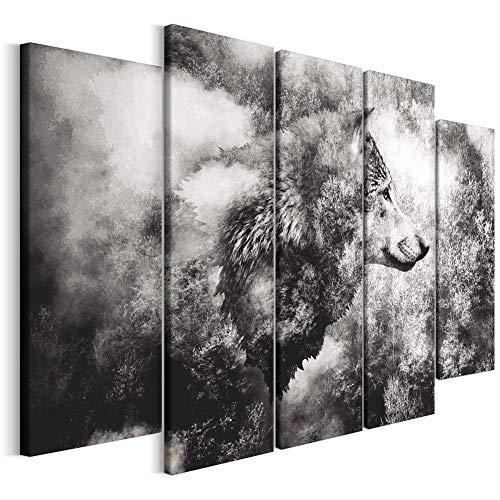 Revolio - Cuadro en Lienzo - impresión artística - 5 Partes - Decoracion de Pared - Tipo B - Tamaño: 200 x 100 cm - Animal Lobo Gris