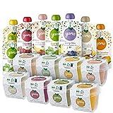 yamo Frische Bio Quetschies und Babybrei, Entdecker-Set, Ohne Zuckerzusatz, 100% Natürliche bio-zutate, ab 6 Monate, 16er Pack, (8 x 120g; 8 x 90g)
