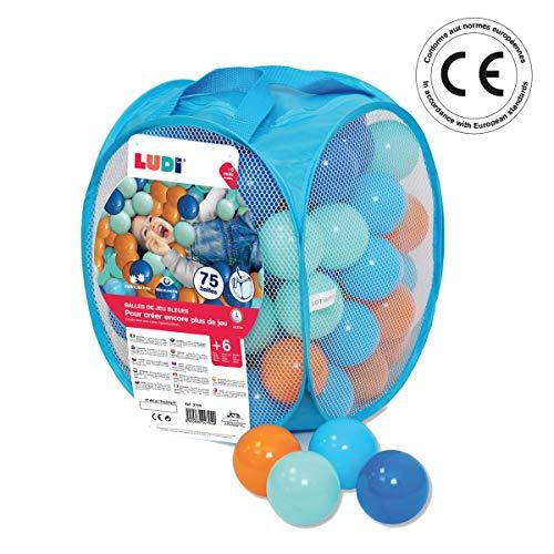 Ludi - Sac de 75 balles Multicolores Souples en Plastique...
