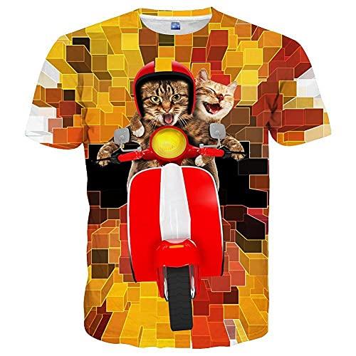 ASHGNV Gato Montando una Motocicleta Camiseta con Estampado en 3D de Secado rápido, Camisetas Casuales de Verano, Novedad, Camiseta de Manga Corta-XXL