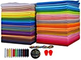 """Cotton Quilting Fabric Assortments 60 Rainbow Color Craft Fat Fabric Bundle Squares Patchwork DIY Sewing Scrapbooking Quilting Dot Pattern,8"""" x 8"""" (20cm x 20cm) cuts Each,(Bright Solids)"""