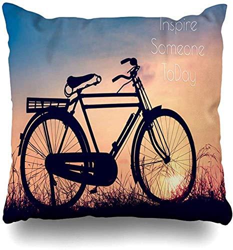 Throw Pillow Cover Joy Bicicleta Antigua Sunset Parks Canasta Antigua Vintage Autumn Bike Break Diseño Urbano Relax Funda de Almohada Cuadrado Cremallera Decoración F 18×18pulgada