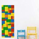 Pegatinas De Puerta 3D Color Lego Puzzle 3D Vinilo para Puertas Puerta Etiqueta De La Pared Sala De Estar Cocina PVC Prueba De Agua En Las Puertas Wallpaper Decoración del Hogar 77X200CM
