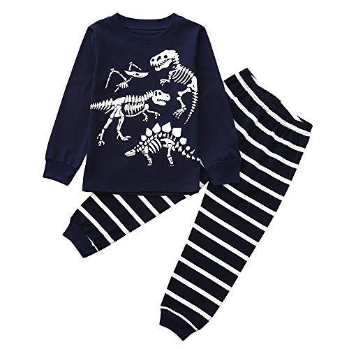 Pyjamas de Bébé, Mamum Enfant Garcons Dinosaure Pyjama Ensembles Vêtements De Nuit (Marine, 100(24Mois))